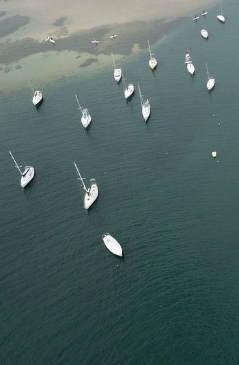 Relaxation Sport Aerial Drone  Boat Nautical Vessel Water Transportation Sea High Angle View Mode Of Transportation Day Aerial View Beauty In Nature Scenics - Nature Nature Turquoise Colored Waterfront Sailboat Moored Tranquility Travel Outdoors Yacht