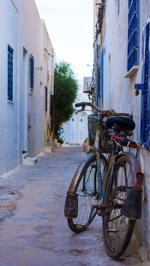 The bicycle. Architecture Bicycle Stationary No People Old-fashioned Tunsia Old Buildings Old Town Outdoors Old Nabeul