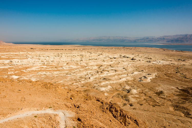 Scenic view of barren land near dead sea