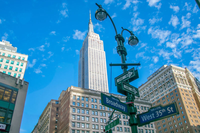 Low Angle View Of Road Sign Against Empire State Building In City