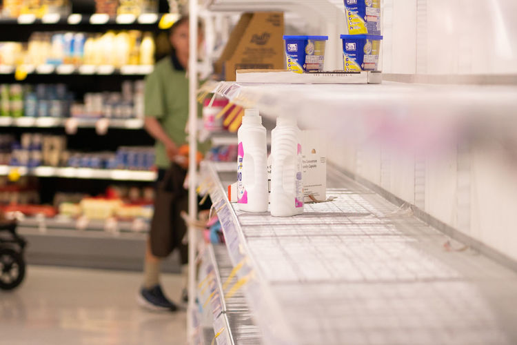 Close-up of shelves in supermarket