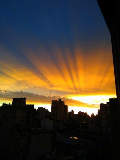 Cityscape City Cityscape Urban Skyline Sunset Silhouette Multi Colored Dramatic Sky Orange Color Sky Architecture