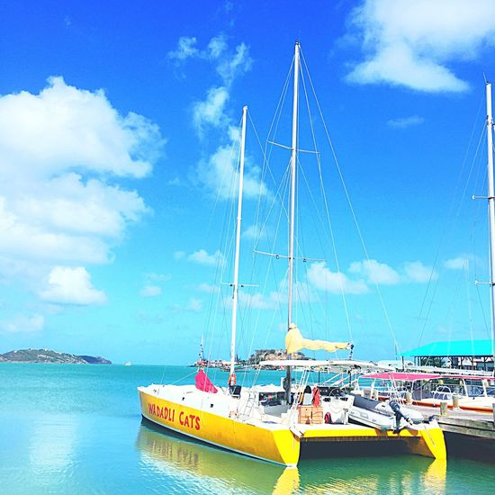 Holiday Snap In Antigua. Taking Photos Beach Boat Habour View Boats Water Clouds And Sky Clouds Modeoftransport Vacations