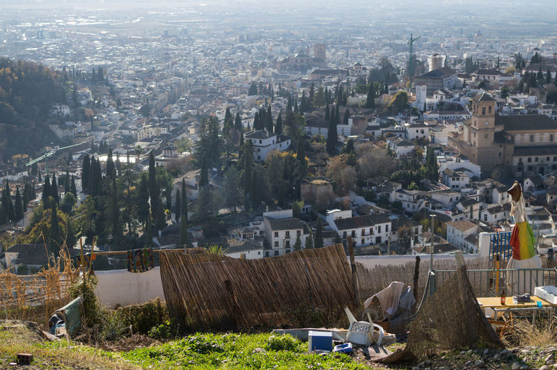Granada, Spain SPAIN Andalusia Sacromonte Alhambra Albaycin Albaicin Architecture Built Structure Building Exterior City Building Day Cityscape Nature High Angle View No People Residential District Plant Environment Transportation Tree Outdoors Landscape Travel Destinations City Life Ruined Pollution