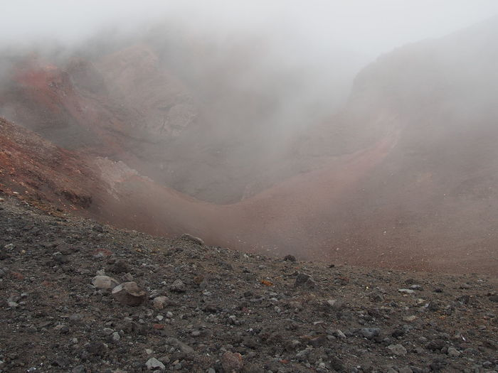 Scenic view of volcano during foggy weather