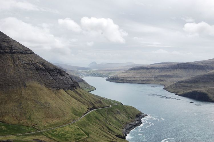 Rógvukollur mountain view Gasadalur Trecking Outdoor Faroe Islands Water Sky Cloud - Sky Scenics - Nature Beauty In Nature Tranquil Scene Tranquility Mountain Nature No People Landscape Idyllic Outdoors Land Mountain Range