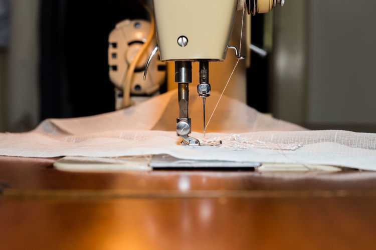 Close-up of fabric on sewing machine