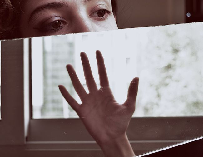 My fate is in MY hand Week On Eyeem Selfcontrol Control Fate  Inner Power Power Reflection Human Hand Human Body Part One Person Hand Body Part Window Glass - Material Close-up Human Face
