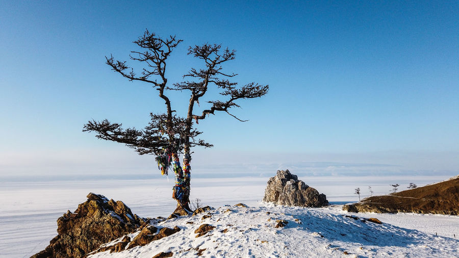 Scenic view of sea against clear blue sky during winter
