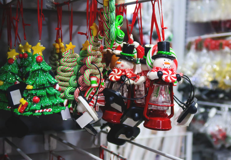 Christmas Decorations Hanging In Store