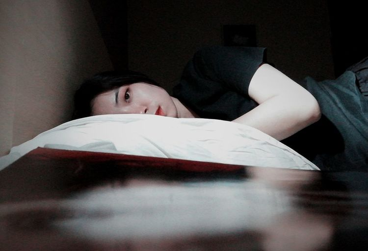 Pillow Bed Lying Down Relaxation Portrait Lying On Back Headshot Human Eye Resting Sleeping