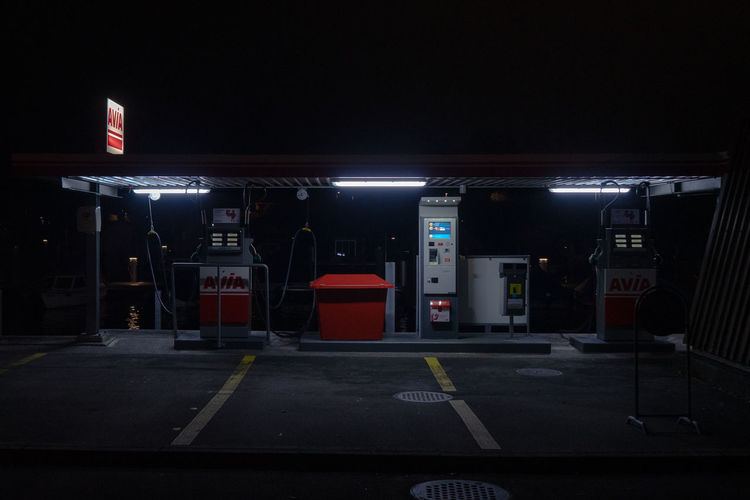 View of parking lot at night