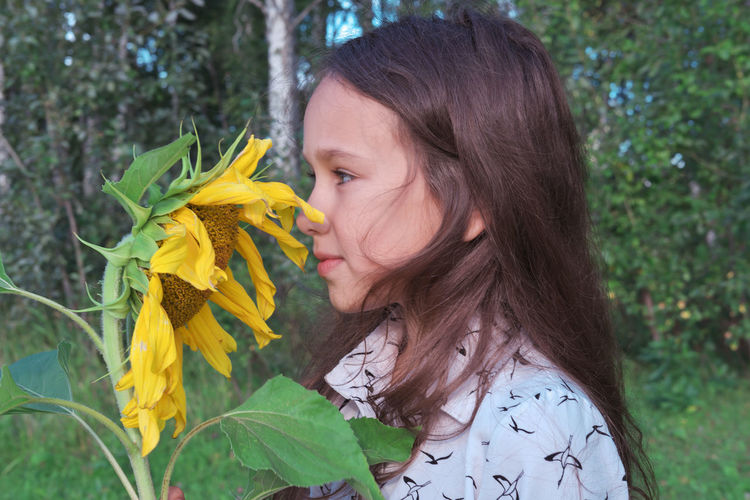 A girl sniffs sunflower. brunette  with yellow flower. summer vacation and slow living concept.