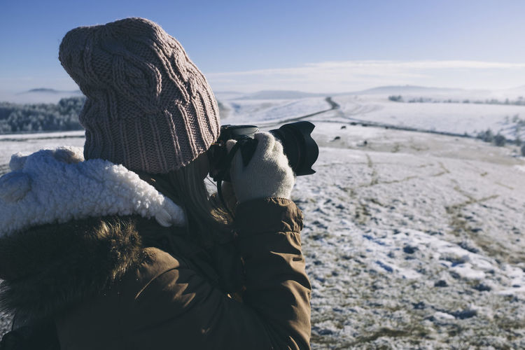 Winter in Serbia. Adult Adults Only Adventure Close-up Cold Temperature Day Human Body Part Mountain Nature One Person One Woman Only Outdoors People Photographer Sky Snow Vacations Warm Clothing Winter