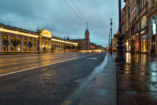 Nevsky Prospect, Great Gostiny Dvor, Saint Petersburg, Russia. Great Gostiny Dvor Nevsky Prospect Russia Saint Petersburg Architecture Building Exterior Built Structure Cable City Dawn No People Outdoors Road Sky Street Transportation Colour Your Horizn Mobility In Mega Cities