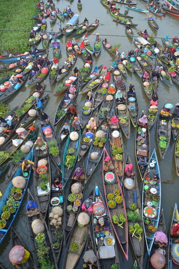 High angle view of multi colored umbrellas at market