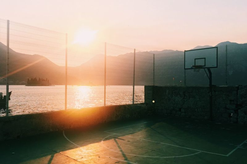Basketball court during sunset