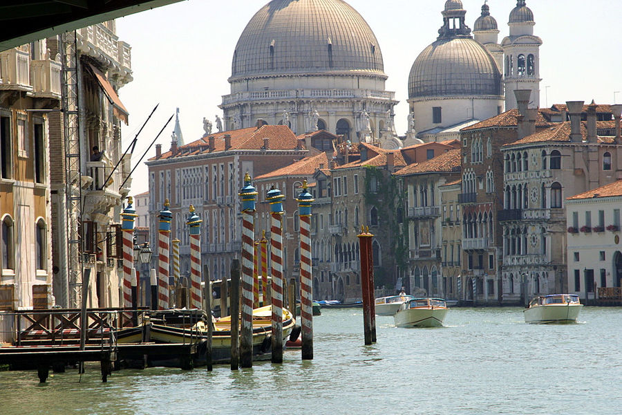 The Grand Canal - Venice, Italy Architecture Building Exterior Built Structure City Day Dome Gondola - Traditional Boat History Through The Lens  Nautical Vessel No People Outdoors Place Of Worship Religion Spirituality The World Before Bin Laden Travel Destinations Venice, Italy Water Lost In The Landscape Stories From The City The Traveler - 2018 EyeEm Awards Holiday Moments