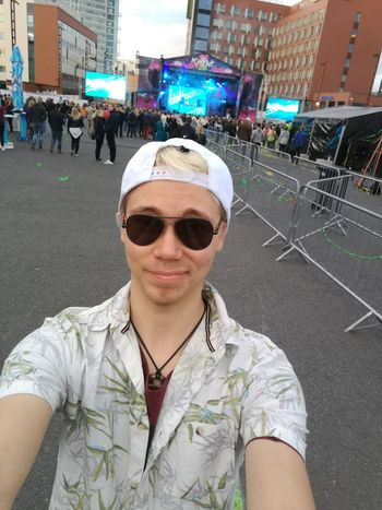 Me at the dance music event as a crowd and dance music fan 😊 Sunglasses Casual Clothing Portrait Outdoors One Person Day City Young Adult Real People People Architecture Adult Adults Only Sky Selfie Photography Finnishboy Summer Weekend Event Nightlife Excitement Fashion Trend Entertainment Event