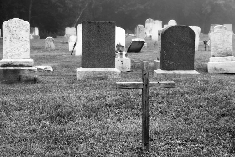 Black And White Friday Cemetery Grass Day Tombstone Memorial No People Outdoors Field Graveyard Nature Gravestone
