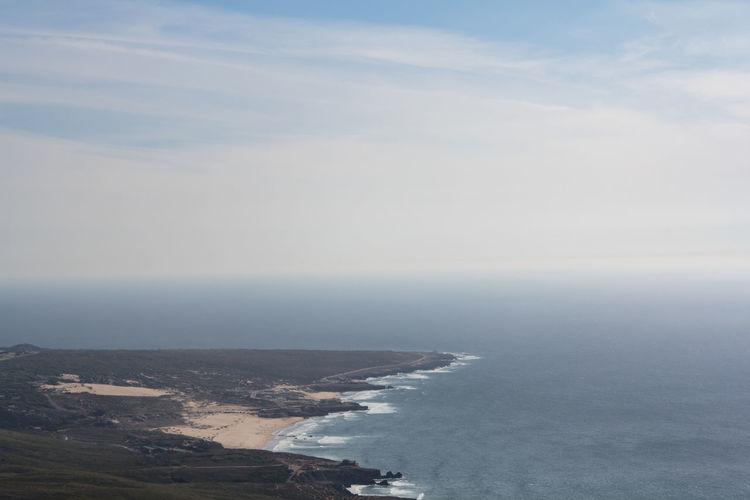 Aerial view of beach, sea and sky horizon