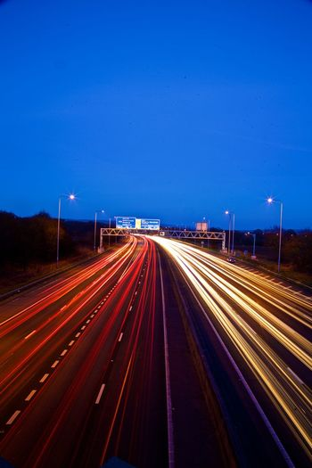 Blurred Motion Highway Illuminated Light Trail Long Exposure M25 M25 Junction 5 Motion Night No People Outdoors Speed Traffic Transportation Two Lane Highway