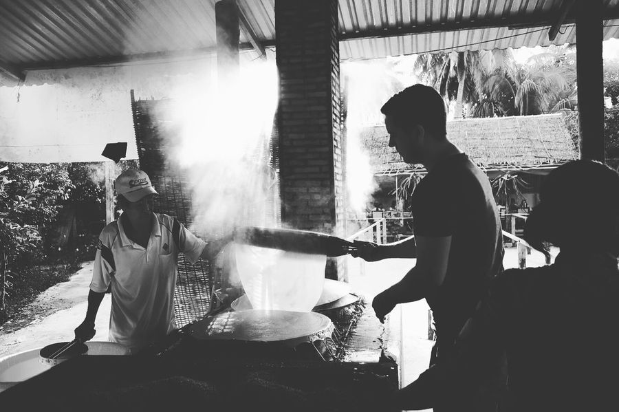Rice noodles production vietnam Mekong River Ricenoodles Tradition Tourism Cooking Vietnam Food Blackandwhite Black And White Blackandwhite Photography Asian Culture Production Travel People