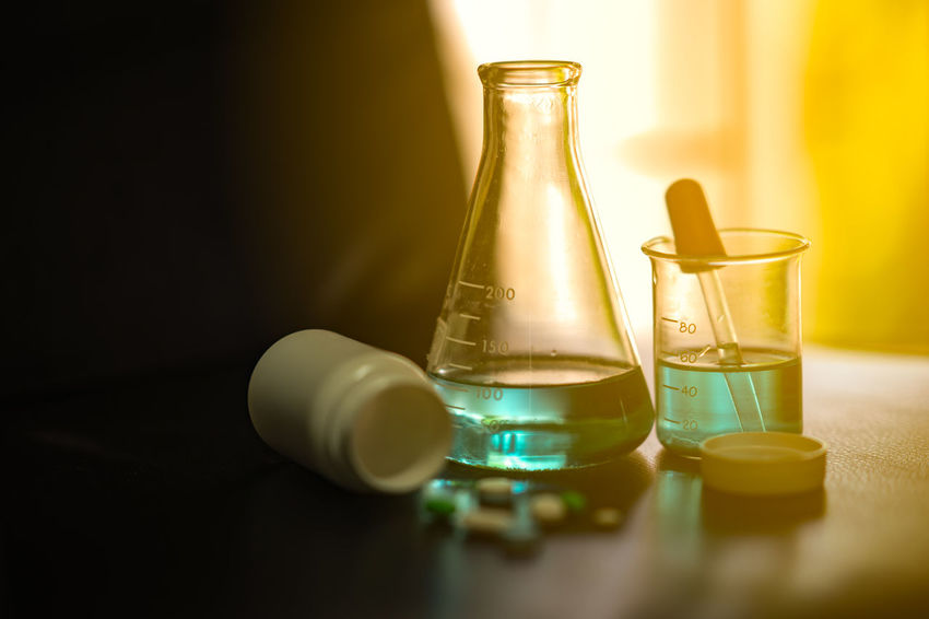 Soft chemical test medicine or drug in chemistry science laboratory Chemist Doctor Who Drug Experimental Medicine Pharmacy Science Scientist Substance Vial Beaker Chemical Chemistry Disease Dropper Flask Healthcare And Medicine Healthy Ill Lab Laboratory Medical Phamaceutical Reaction Test
