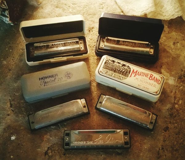 Lieblingsteil The hubby's harmonica collection. I didn't know they're all in different chords.. High Angle View Indoors  Close-up Photography Popular Photos Family Treasure Collections Collectibles Harmonicas Musical Instruments