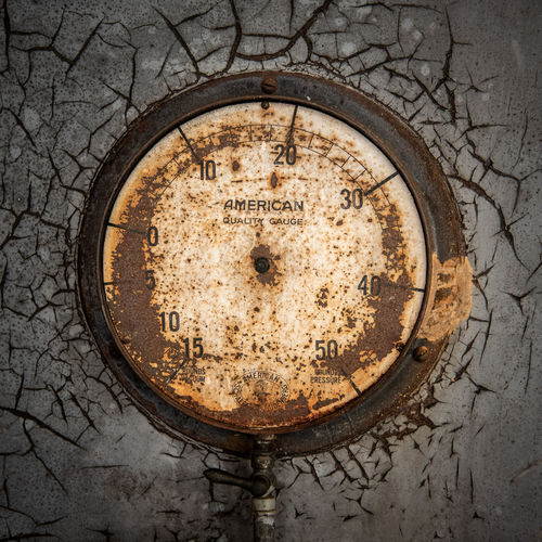 Pump Station Meter Antique Obsolete Weathered Architecture Geometric Shape Circle Close-up Day Rusty Metal Old No People Riverfront Park Columbia Sc