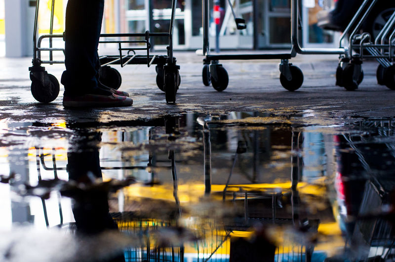 Puddle #8 Autumn Puddleography Rainy Days RainyDay Reflection Shopping Shopping Cart Water Reflections Day Fall Leaf Leaves Legs Puddle Puddle Reflections Puddleporn Rainy Rainy Day Rainy Season Reflections Reflections In The Water Shoes Shopping Mall Water Yellow