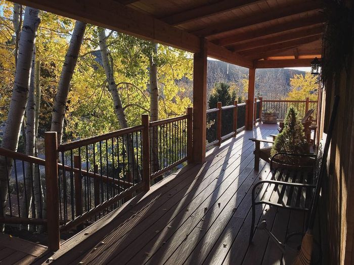 the house is surrounded by golden glow. poised and ready for a heap of snow. 🏔🍁✨ Poems Wasatch Back Heber City Wasatch County Architecture Built Structure Tree Plant Nature Day Indoors