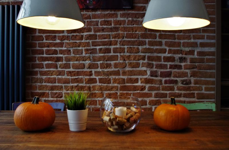 Quite morning in Krakow...... Wall Bar Day Freshness Halloween Healthy Eating Illuminated Indoors  Lighting Equipment No People Pumpkin Scene Table Tranquillity Vegetable