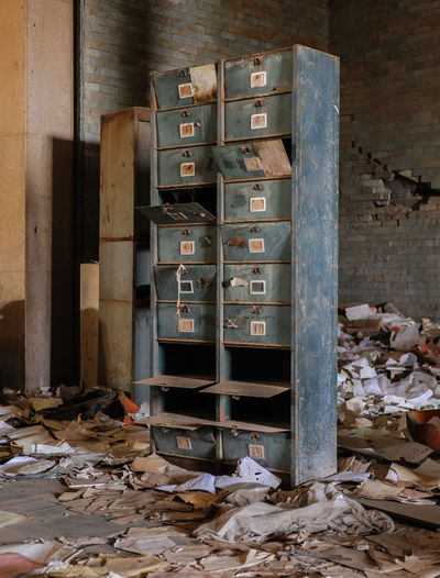 Abandoned Abandoned Buildings Abandoned Places Architecture Archive Blue Bureaucracy Day Delipidated Room Government Indoors  Large Group Of Objects Messy Papers No People Nostalgia Nostalgia #recuerdos #buenos Recuerdos Old Archives Old Furniture Old Office Open Drawers Relic From The Past Relics Of The Pa Stack