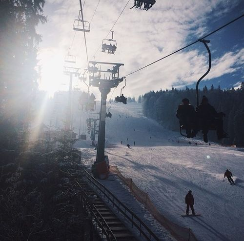 Wether Snowboarding Relaxing Mountains
