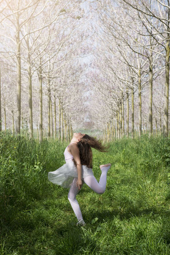 Childhood Dancing Field Girls Grass Green Color Growth Learn & Shoot : Balancing Elements Lifestyles Nature Playing Tree
