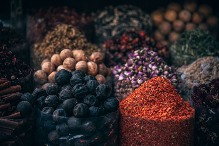 Spice Market Bazaar Business Curry Shopping Abundance Arabic Aromatic Basket Buy Buying Cart Choice Close-up Day Design Food Food And Drink For Sale Freshness Healthy Eating Indoors  Large Group Of Objects No People Readside Saffron Spice Spices Variation Vendor Fresh On Market 2017