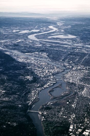 Bye bye Portland... Aerial Aerial View Sea Water Cold Temperature City Beauty Aerial View Backgrounds Snow Sky Horizon Over Water