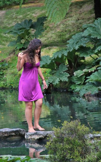 Casual Clothing Day Full Length Green Color Growth Pond Life Long Hair Looking Down Nature Outdoors Person Plant Water Young Adult Young Women Stepping Stones People And Places Furnas São Miguel - Açores Purple Dress:) Barefoot