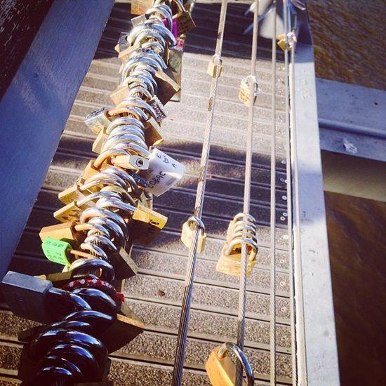 Love locks! Yarra footbridg