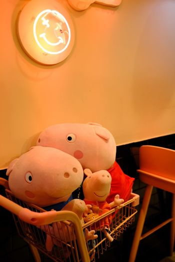 High angle view of stuffed toy on ceiling