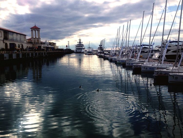 RF, Sochi Sky Water Harbor Sea And Sky Seascape Marina Reflections In The Water Dark Water Sailing Sailing Club
