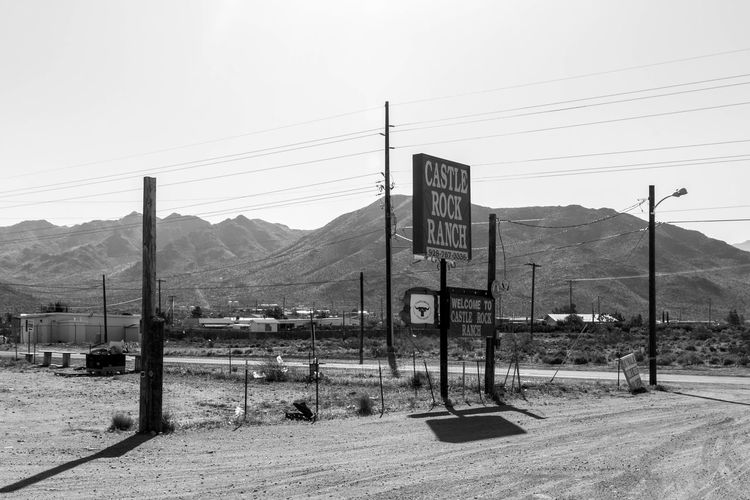 Castle Rock Ranch, Dolan Springs. Arizona Black And White Blackandwhite Castle Rock Castle Rock Ranch Dolan Springs Dust Dusty Landscape Middle America Sign Signs Small Town Small Town USA Telegraph Pole Travel Travel Photographer Travel Photography