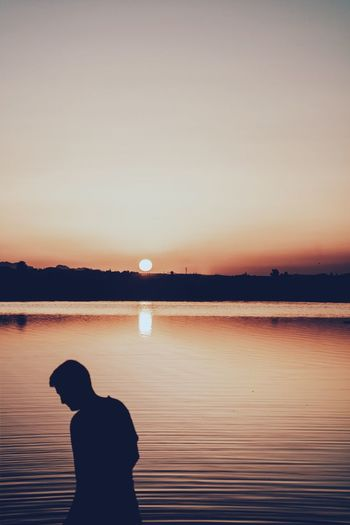 Sunset Silhouettes EyeEm Ready   EyeEmNewHere Canon Day People Scenics Men Standing Lake Sky Side View Beauty In Nature Lifestyles Leisure Activity Outdoors Nature Real People Water One Person Sunset Silhouette Salt Lake Sun Capture Tomorrow