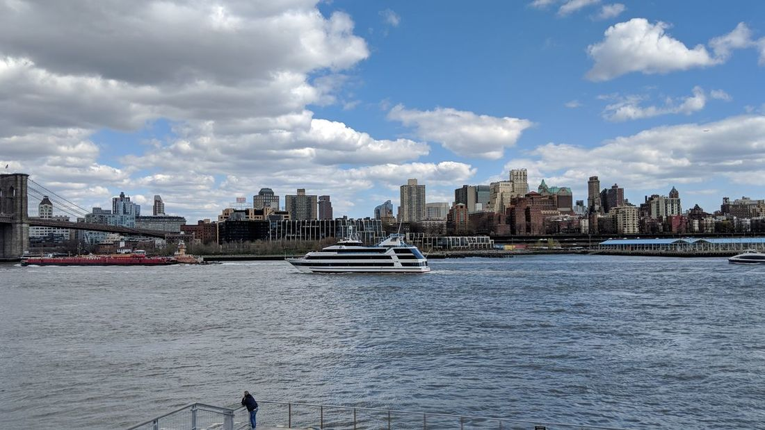 View of Brooklyn, NY from Pier 15 in NYC Brooklyn New York New York City East River Beautiful Sky Beautiful Day Travel Travel Photography Travel Blogger Good Times Followme Pixelxl2 City Cityscape Urban Skyline Water Nautical Vessel Modern Skyscraper Ferry Tourboat