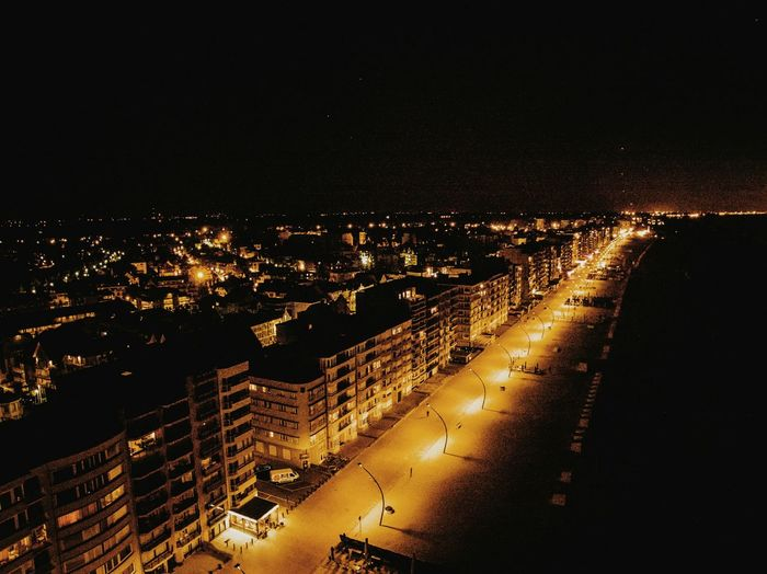 Night City Architecture Cityscape City Life Be Belgium Depanne Building Exterior Dark Outdoors Sea Ocean Aerial View Drone  Dronephotography Aerial Photography Aerial Shot First Eyeem Photo