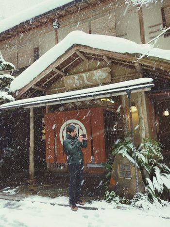 Man Snowing Winter Kyoto, Japan House Shop Taking Photos Koibito