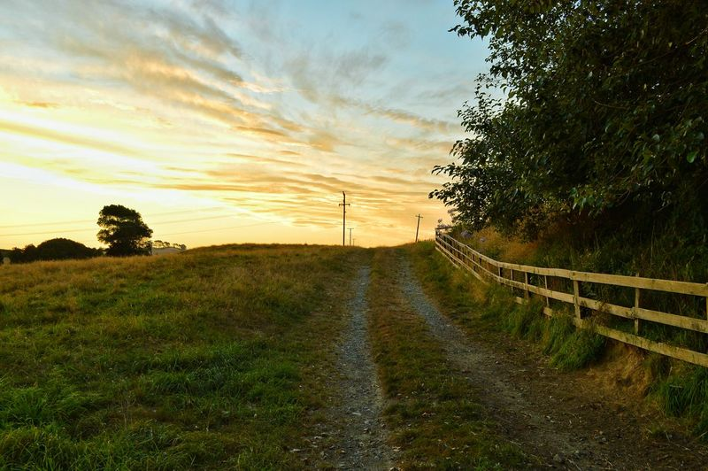 Country Road Passing Through Field Against Sky