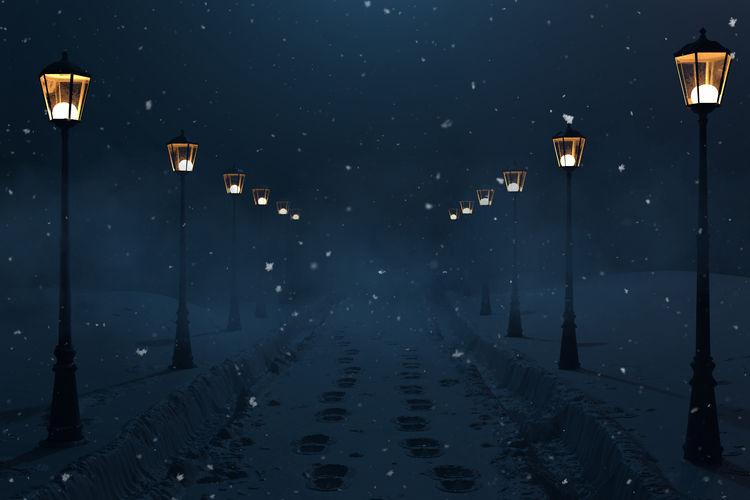 Street lights in winter at night