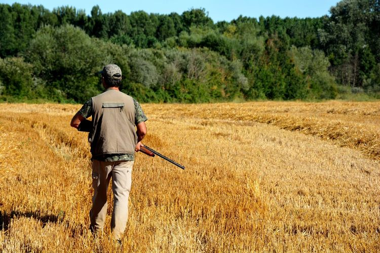 Rear view of man with gun standing on grass